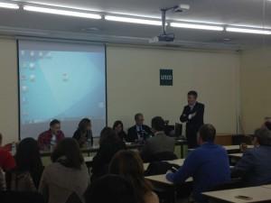 Vicerrectora de Investigación Esther Souto, Director Otri Sixto Jansa, María Ramón de ULECOOP t SocialSoluciones, y Profesores UNED José Luis Calvo y Jorge Vega